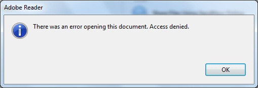Adobe Reader DC \u2013 There was an error opening this document. Access