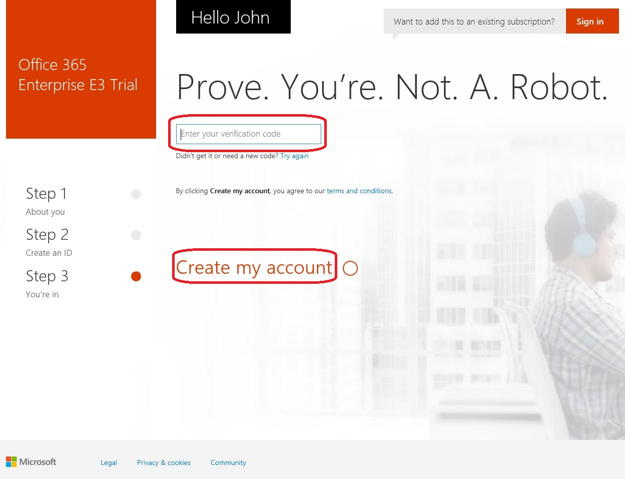 Getting started with office 365 thecloudgeek - Create account in office 365 ...